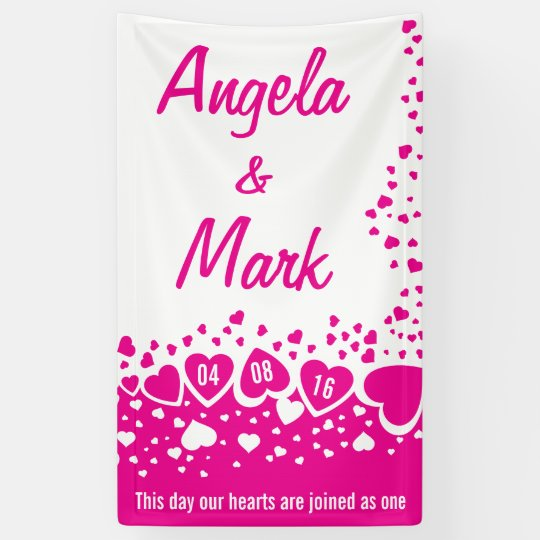 Hot Pink Hearts Personalized Wedding Banner