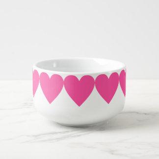 Hot Pink Hearts Soup Mug