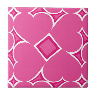Hot pink hearts tile pattern