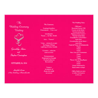 Hot Pink Hearts Wedding Program Template, Tri-Fold