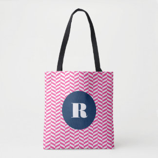 Hot Pink Herringbone Pattern Monogram Bag