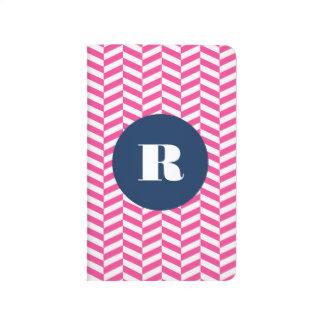 Hot Pink Herringbone Pattern Monogram Journal