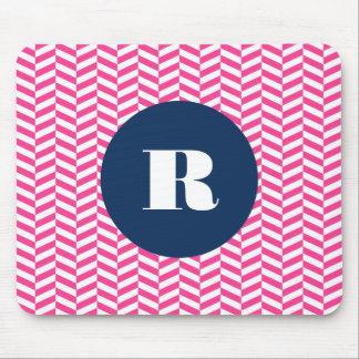 Hot Pink Herringbone Pattern Monogram Mouse Pad