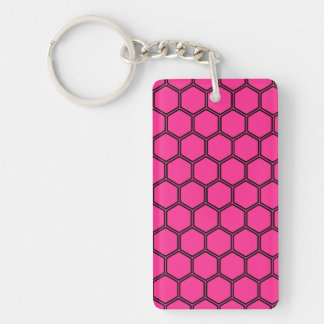 Hot pink Hexagon 3 Double-Sided Rectangular Acrylic Keychain