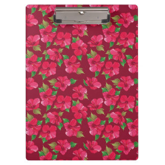 Hot Pink hibiscus Pattern Clipboard