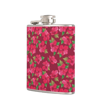 Hot Pink hibiscus Pattern Flask