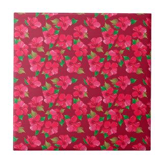 Hot Pink hibiscus Pattern Tile