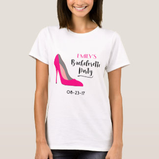 Hot Pink High Heel Shoe Bachelorette Typography T-Shirt