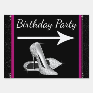 Hot Pink High Heel Shoe Birthday Party Sign
