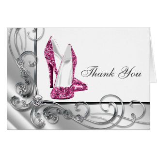 Hot Pink High Heel Shoe Thank You Cards