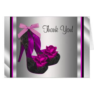 Hot Pink High Heel Shoe Thank You Note Card