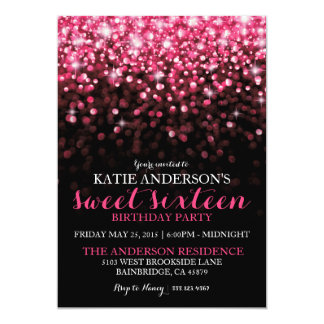 "Hot Pink Hollywood Glitter Sweet Sixteen Party 5"" X 7"" Invitation Card"