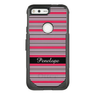 Hot Pink Horizontal Striped Pattern Add your name OtterBox Commuter Google Pixel Case