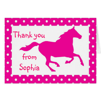 Hot Pink Horse Birthday Thank You Note Card