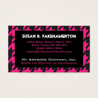 Hot Pink Houndstooth Business Card