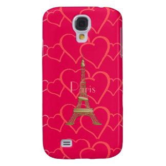 Hot Pink, I Love Paris Samsung Galaxy S4 Case