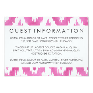 Hot Pink Ikat Guest Information Card