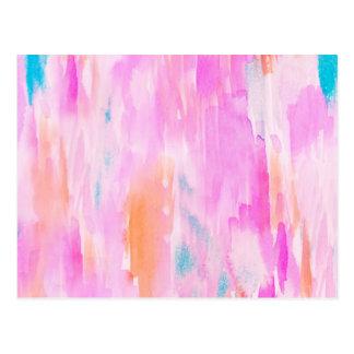 Hot Pink Ikat Watercolor Design Postcard