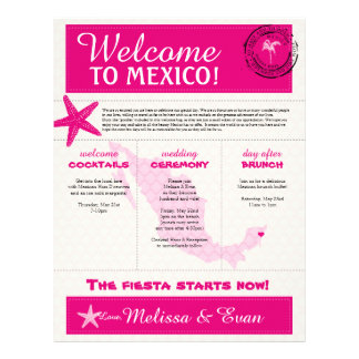 Hot Pink Ivory Wedding Welcome Letter for Mexico Letterhead