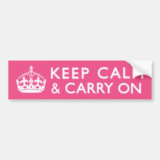Hot Pink Keep Calm and Carry On Bumper Sticker