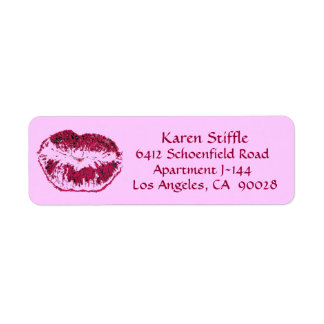 Hot Pink Kiss Return Address Label