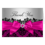Hot Pink Lace Damask & Bow Thank You Card