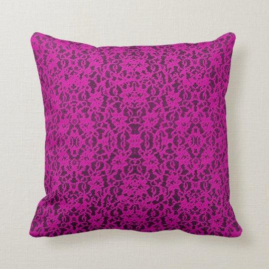 Hot Pink Lace Print Throw  Pillow
