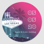 Hot Pink Las Vegas Wedding Save the Date Stickers