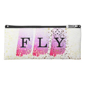 Hot Pink Lavender Paint Brush Watercolor monogram Pencil Case