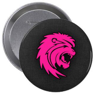 Hot Pink Leo Lion Zodiac Sign Button