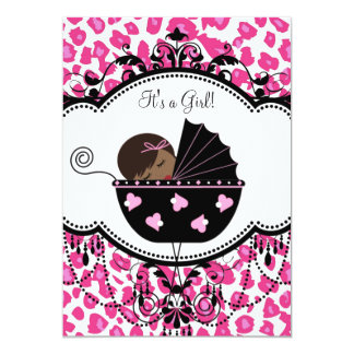 Hot Pink Leopard African American Baby Girl Shower Card