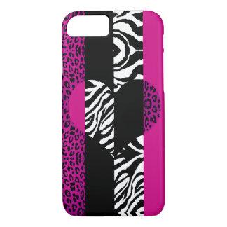 Hot Pink Leopard and Zebra Animal Heart iPhone 8/7 Case