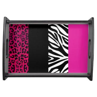 Hot Pink Leopard and Zebra Animal Print Service Trays