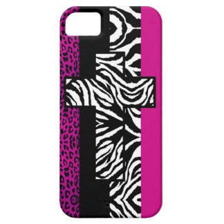 Hot Pink Leopard and Zebra Animal Print with Cross iPhone 5 Cover