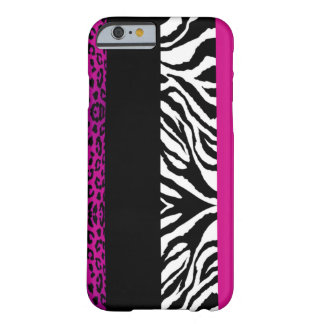 Hot Pink Leopard and Zebra Custom Animal Barely There iPhone 6 Case