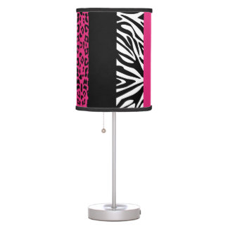 Hot Pink Leopard and Zebra Custom Animal Print Table Lamp