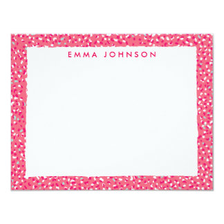 "Hot Pink Leopard Flat Note Card and Backer 4.25"" X 5.5"" Invitation Card"