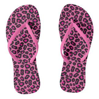 Hot Pink Leopard Flip Flops