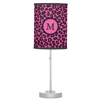 Hot Pink Leopard Monogram Table Lamp