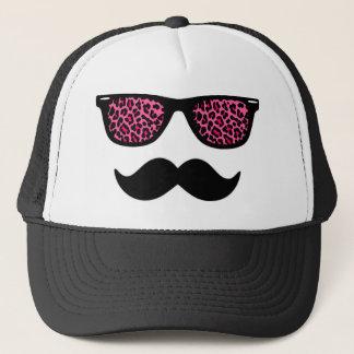 Hot Pink Leopard Mustache Design Trucker Hat
