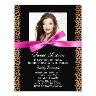 "Hot Pink Leopard Photo Sweet 16 Birthday Party 4.25"" X 5.5"" Invitation Card"