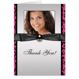 Hot Pink Leopard Photo Thank You Cards
