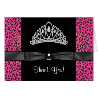 Hot Pink Leopard Princess Thank You Cards