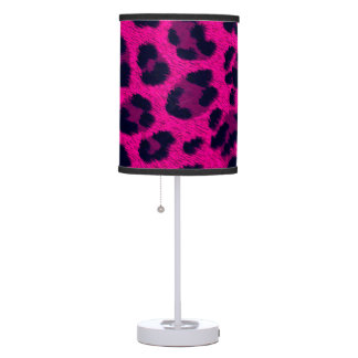 Hot Pink Leopard Print Animal Fur Pattern Lamp