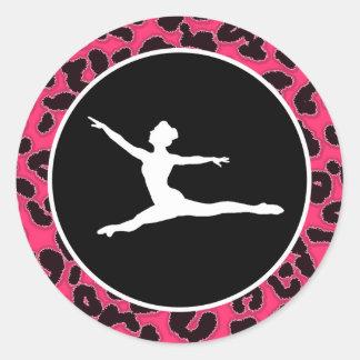Hot Pink Leopard Print; Ballet Dancer Classic Round Sticker
