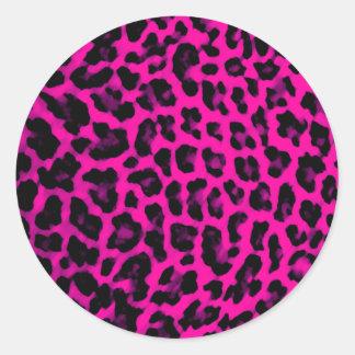 Hot Pink Leopard Print Classic Round Sticker