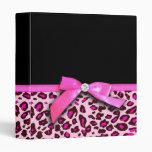 Hot pink leopard print ribbon bow graphic 3 ring binder