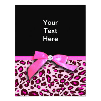 Hot pink leopard print ribbon bow graphic invite