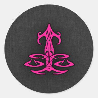Hot Pink Libra Scales Zodiac Sign Classic Round Sticker