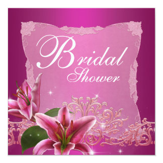 Hot Pink Lily Bridal Shower Invitations